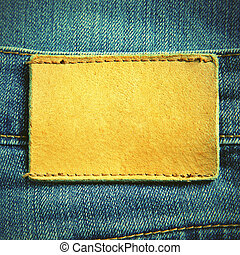 Jeans with blank leather label. Retro style filtred image