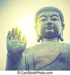 Giant Buddha in Hong Kong. Retro style filtred image