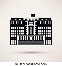 Courthouse Vector icons in a flat style - Courthouse Vector...