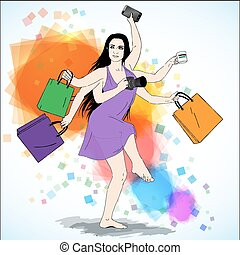 Happy shopping vector illustration