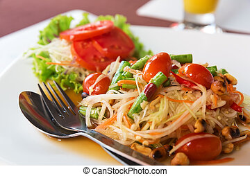 papaya salad - Som Tum, Thai papaya salad Traditional Thai...