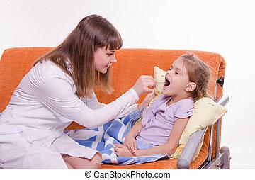 のど, 子供, 顔つき, 病気, 医者
