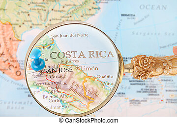 Looking in on San Jose, Costa Rica - Blue tack on map of...
