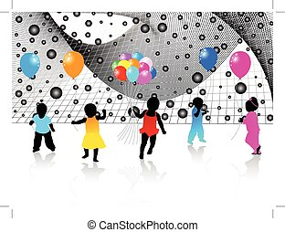 Kids silhouettes and abstract - Illustration of kids...