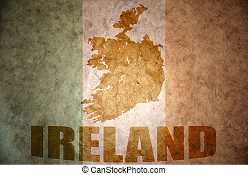 vintage ireland flag - ireland map on a vintage irish flag...