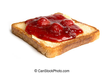 toast with butter and strawberry jam