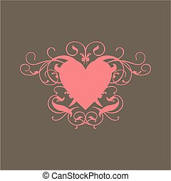 Pink Heart - A scroll design of a pink heart
