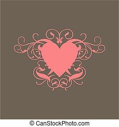 Pink Heart - A scroll design of a pink heart