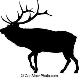 Silhouette Elk   - Silhouette of an elk or reindeer