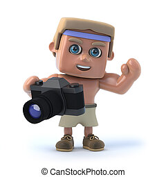 3d Bodybuilder with his camera
