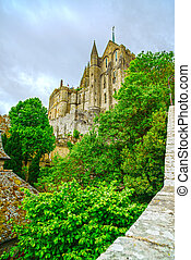 Mont Saint Michel Monastery landmark. Normandy, France.