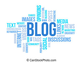 Blog, concept, nuage, Diagramme, impression, document,...