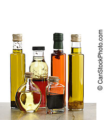 Olive Oil,Salad Dressing And Vinegar - Glass Bottles Of...