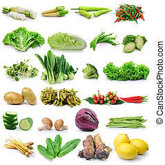 蔬菜, 白色, 集合, 背景