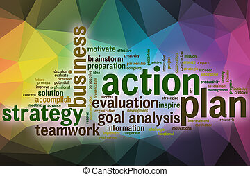 Action plan word cloud with abstract background