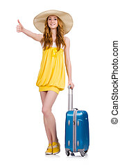 Young girl wth travel case thumbs up isolated on white