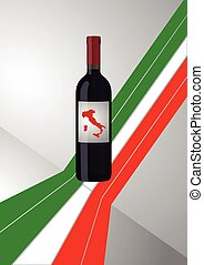 wine bottle italian - illustration of wine bottle with...