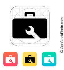 Drone repair kit box icon. Vector illustration.