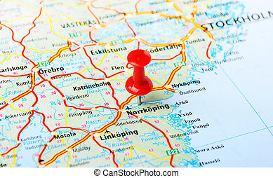 Norrcoping ,Sweden map - Close up of Norrcoping,Sweden map...