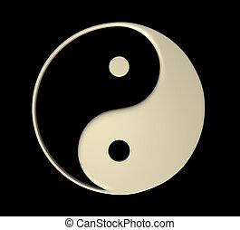 Ying Yang - Isolated - Ying Yang creme color symbol on a...