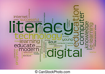 Digital literacy word cloud with abstract background -...