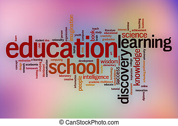Education word cloud with abstract background