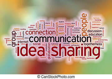 Idea sharing word cloud with abstract background