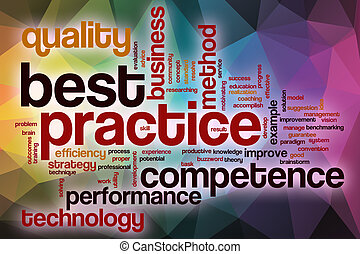 Best practice word cloud with abstract background