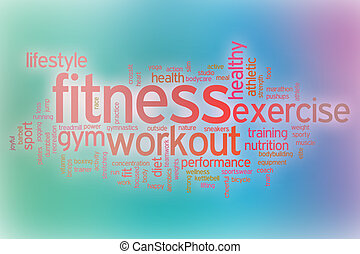 Fitness word cloud with abstract background