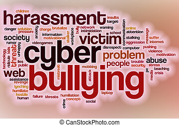 Cyberbullying word cloud with abstract background -...