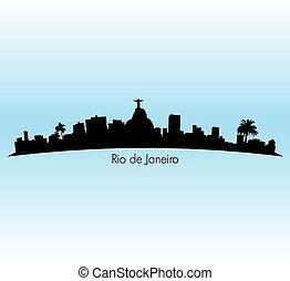 Rio De Janeiro - Rio de Janeiro vector Skyline illustration...