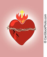 Secret heart, christian icon and symbol, art vector...