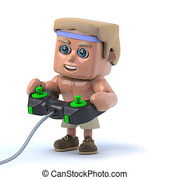 3d Bodybuilder playing a videogame - 3d render of a...