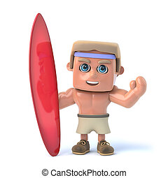 3d Bodybuilder standing with a surfboard - 3d render of a...