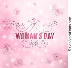 Womans Day - Greeting card with March 8 Womans Day