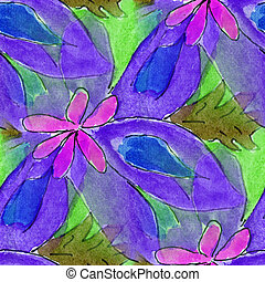 blots purple flower watercolor painting seamless background...