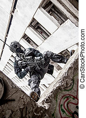 tactical rappeling - Spec ops police officer SWAT during...