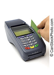 Swiping credit card with POS-terminal - Modern wireless...