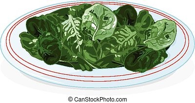 Plate of spinach - Illustration of plate of spinach