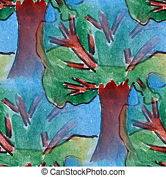 blots tree watercolor painting seamless background art