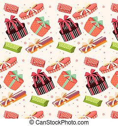 Background with colorful gift boxes with bows and ribbons in...