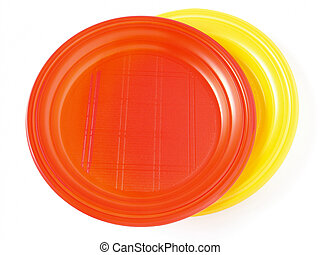 disposable plates - red and yellow disposable plates on...