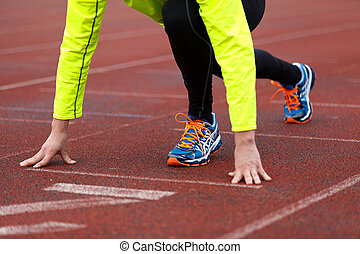 Running and jogging - A professional runner preparing for...
