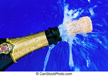 cork and champagne bottle - champagne bottle is opened cork...