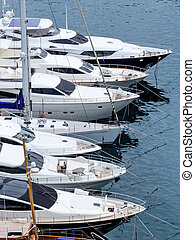 marina with yachts, symbolic photo for water sports, luxury...
