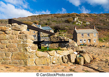 Penberth Cove Cornwall England - Historic capstan and...