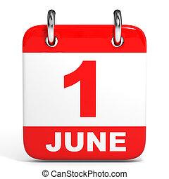 Calendar. 1 June. - Calendar on white background. 1 June. 3D...
