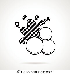 Paintball balls black line vector icon - Flat line vector...