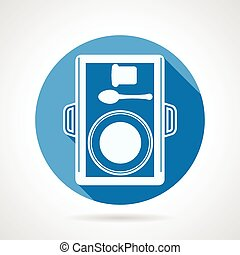 Round vector icon for food tray - Blue circle flat vector...