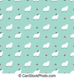 sheep pattern - Seamless pattern with flock of sheep vector...